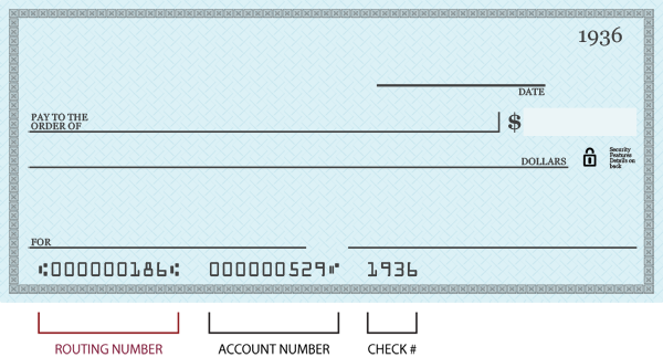 Blank check with routing number area highlighted and labeled